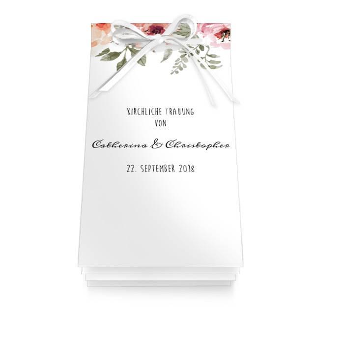 Kirchenheft zur Hochzeit mit Aquarellblüten als Booklet