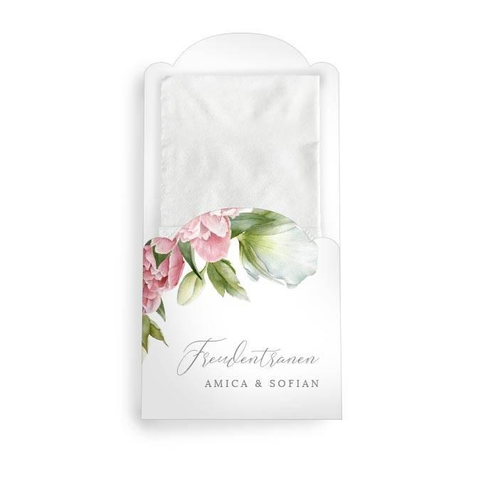 Hüllen für Freudentränen Taschentücher mit Pfingstrosen in Rosa