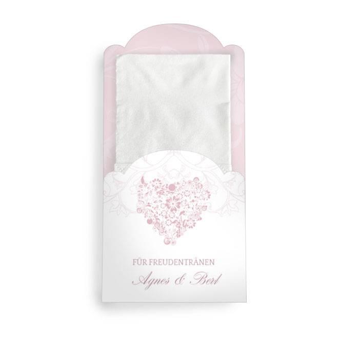 Hüllen für die Freudentränen Taschentücher mit Herz in Rosa