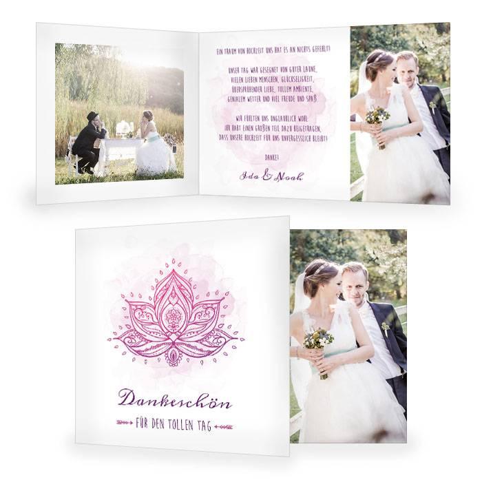 Indische Danksagung zur Hochzeit mit Lotusblume in Pink