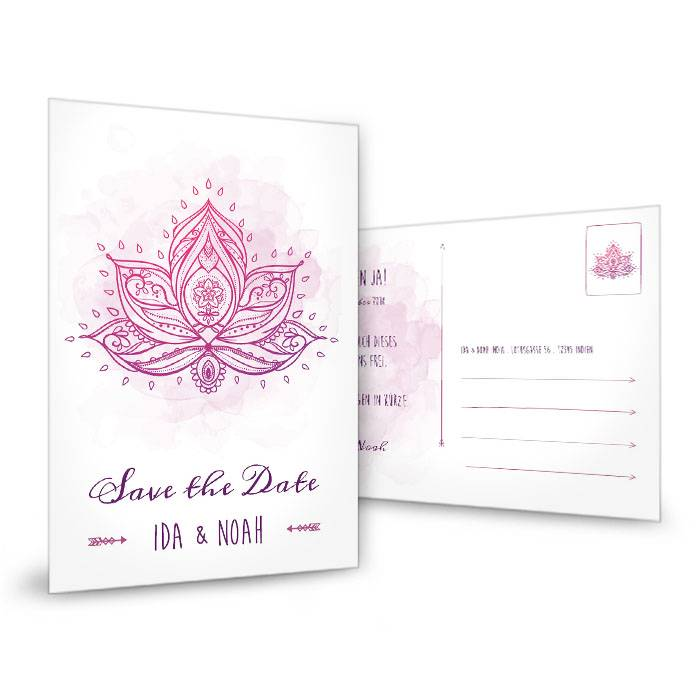 Indische Save the Date Karte mit Lotusblume in Lila