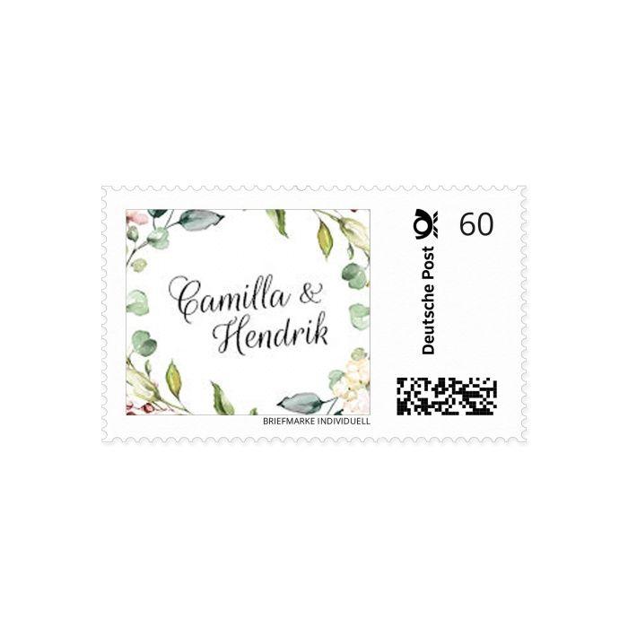 Individuelle Briefmarken mit euren Namen und Greenery Aquarellkranz