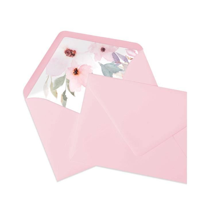 Briefumschlag in Flamingo Rosa mit schönem Blumenmotiv Inlay