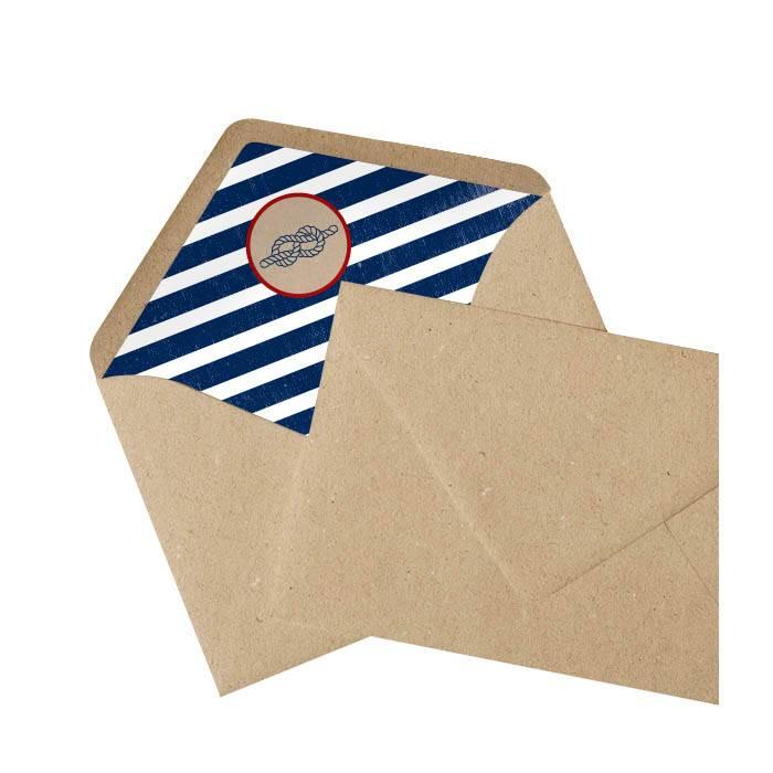 Maritimer Kraftpapier Briefumschlag mit gestreiftem Inlay