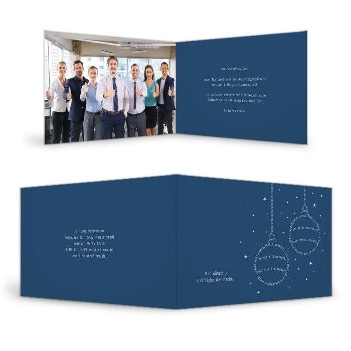 IT Firmen Weihnachtskarte mit binären Christbaumkugeln in Blau