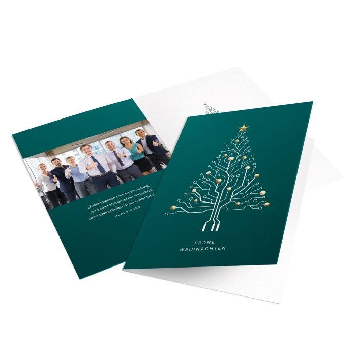 IT Firmen Weihnachtskarte mit Platinen Weihnachtsbaum in Türkis