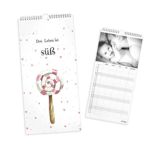 4-spaltiger Wandkalender mit Lolli und rosa Herzen