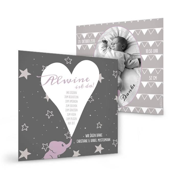 Geburtskarte in Flieder mit süßem Elefant und Sternenhimmel