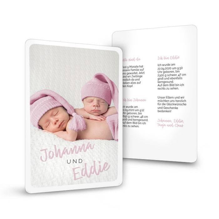 Zwillingsgeburtskarte mit abgerundeten Ecken in Rauchrosa