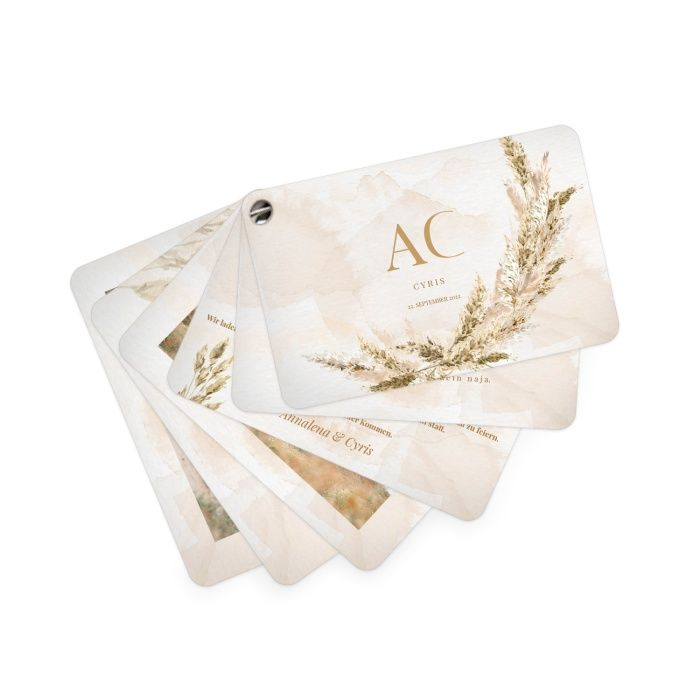 Kartenfächer als Hochzeitseinladung mit handgemaltem Pampasgras in Aquarelloptik