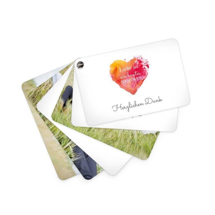Kartenfächer als Hochzeitsdanksagung mit Aquarellherz in Rot