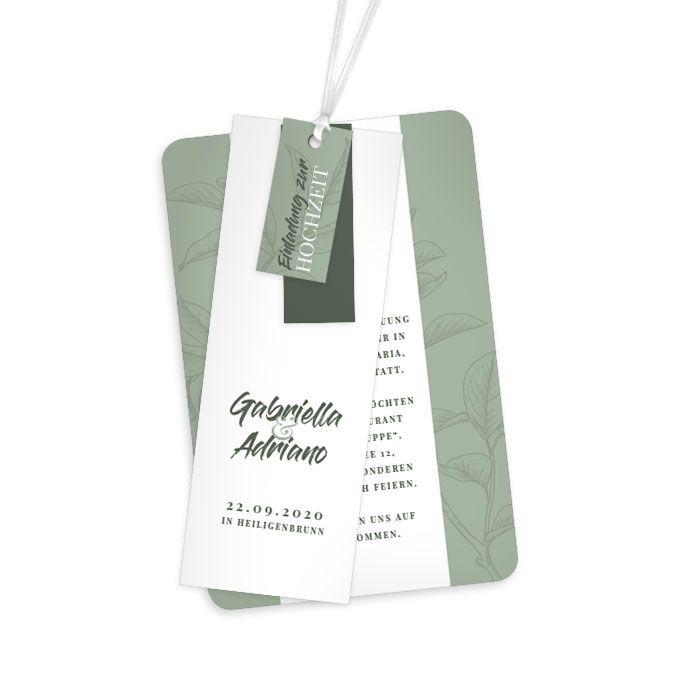 Kartenset mit eckigen Anhängern mit Brushschrift in Stonegreen