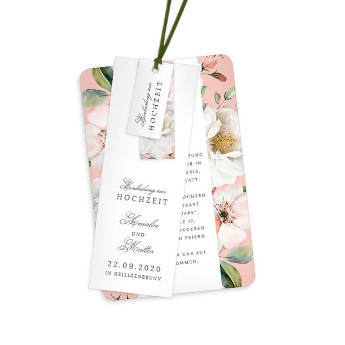 Kartenset mit eckigen Anhängern im floralen Design in Rose