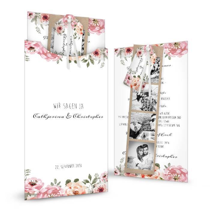 Romantisches Vintage Kartenset mit Aquarellblumen in Hülle