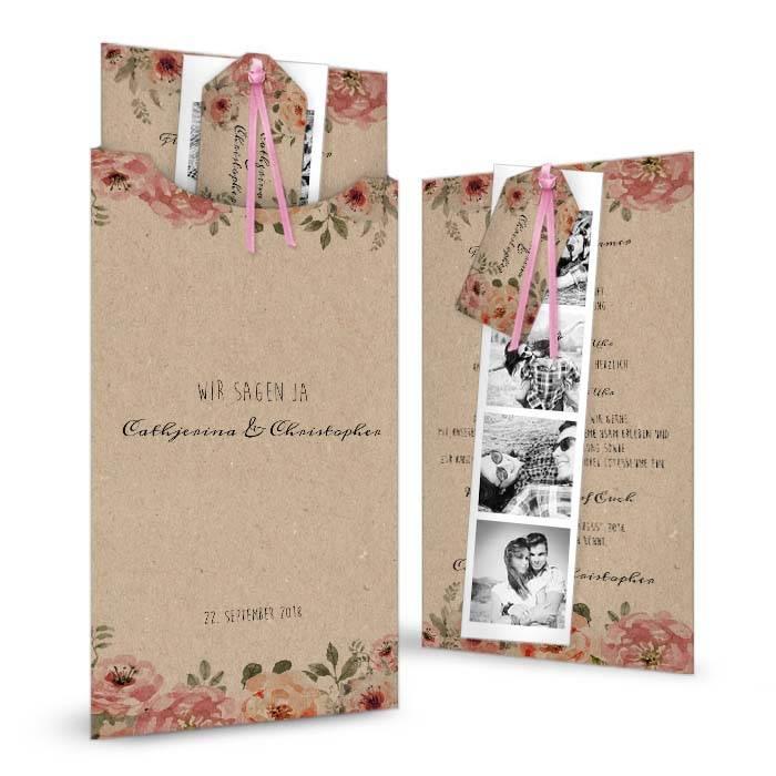 Vintage Hochzeitseinladung in Kraftpapieroptik mit Blüten