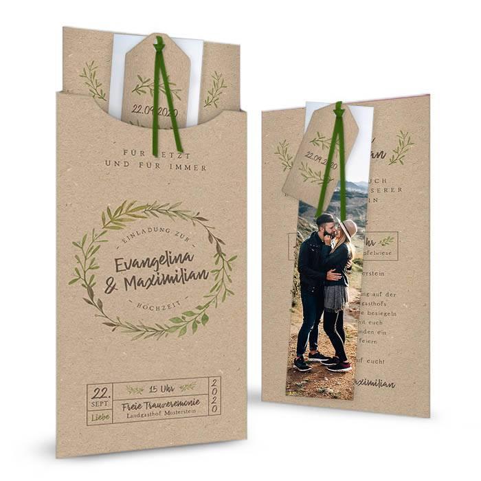 Einladung zur Hochzeit als Kartenset mit Hülle im Greenery Stil