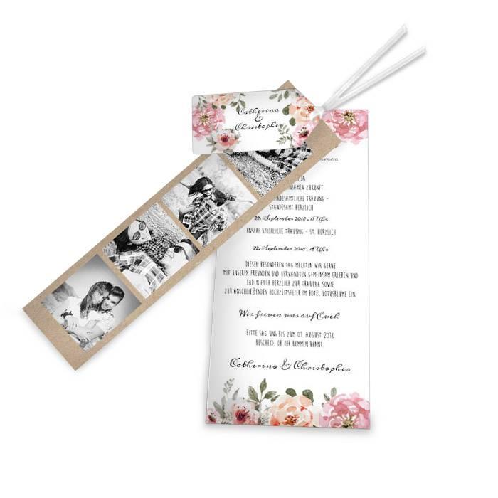 Vintage Hochzeitseinladungen mit Aquarellblüten im Kartenset