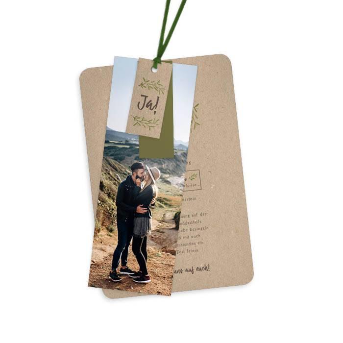 Greenery Hochzeitseinladung im Kraftpapierlook als Kartenset