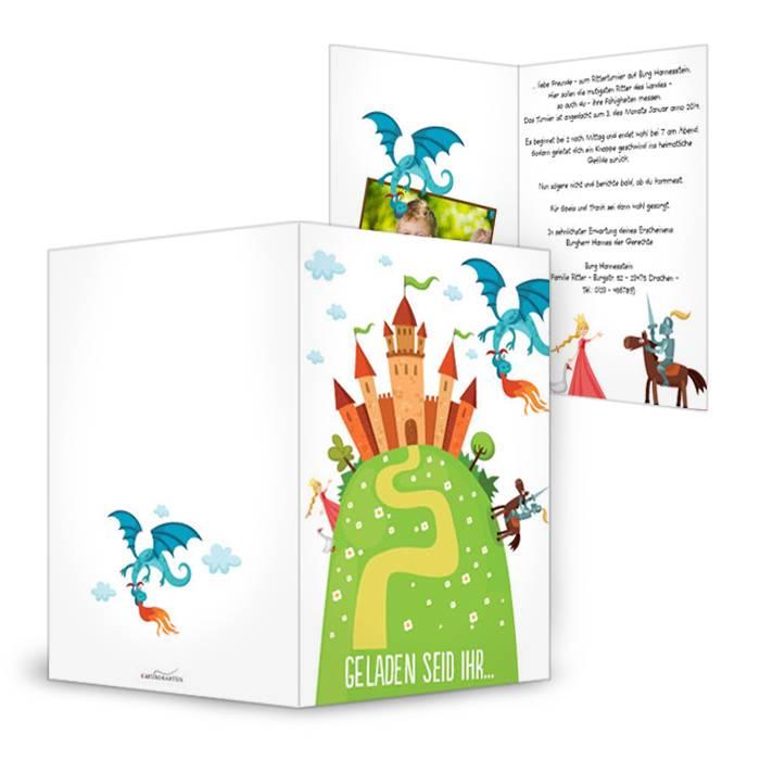 Einladung für den Kindergeburtstag mit Ritter Motto