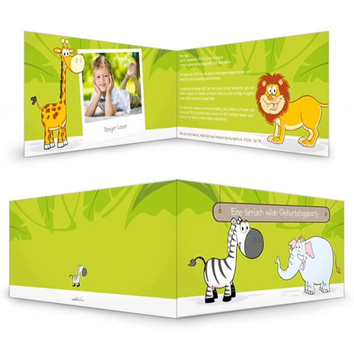 Geburtstagseinladung für den Zoo-Geburtstag mit Löwe und Zebra