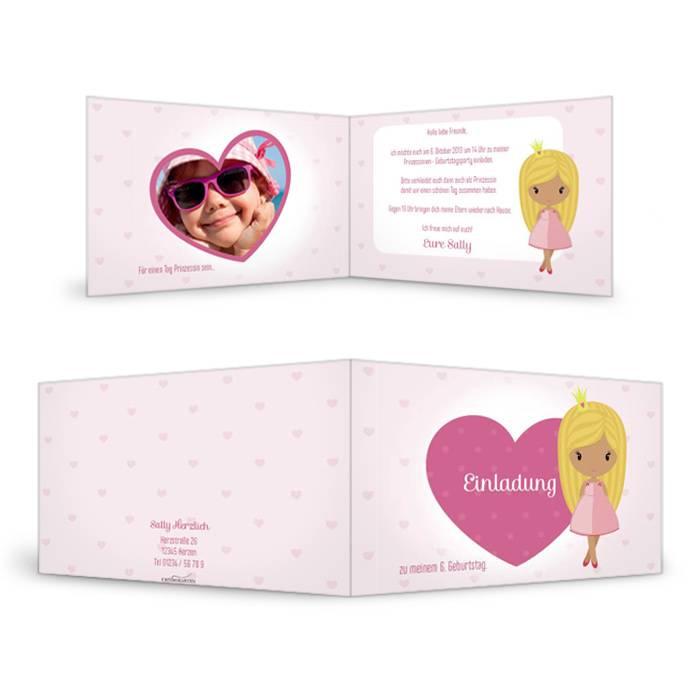 Geburtstagseinladung zur Prinzessinnen-Party in Rosa und Pink