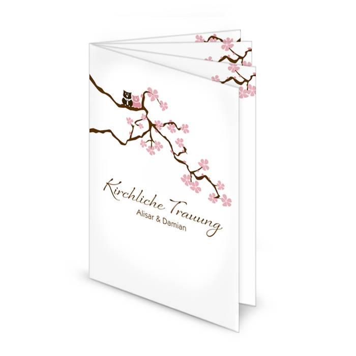 Kirchenheft zur Hochzeit mit Kirschblütenzweig und Eulen