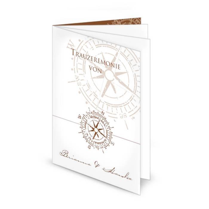 Kirchenheft zur maritimen Hochzeit mit antikem Kompass
