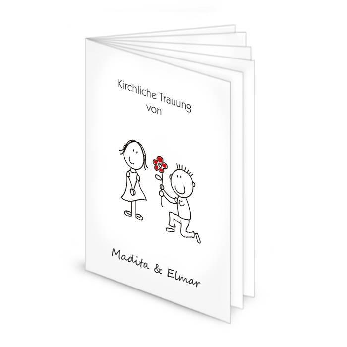 Kirchenheft zur Hochzeit mit niedlichem Comic Brautpaar