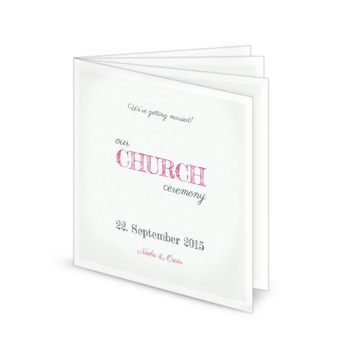 Kirchenheft zur Hochzeit in Minz mit pinker Schrift