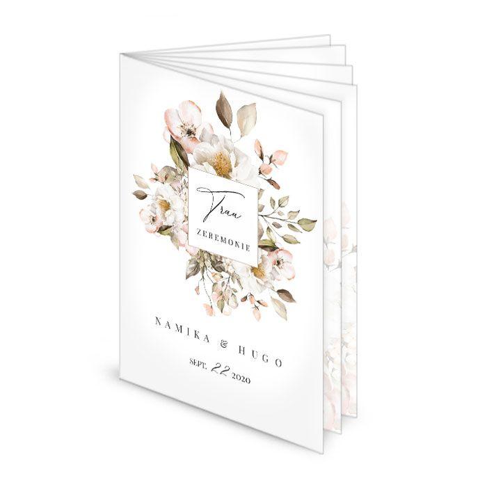 Kirchenheft zur Hochzeit mit romantischen Blumen - 12seitig