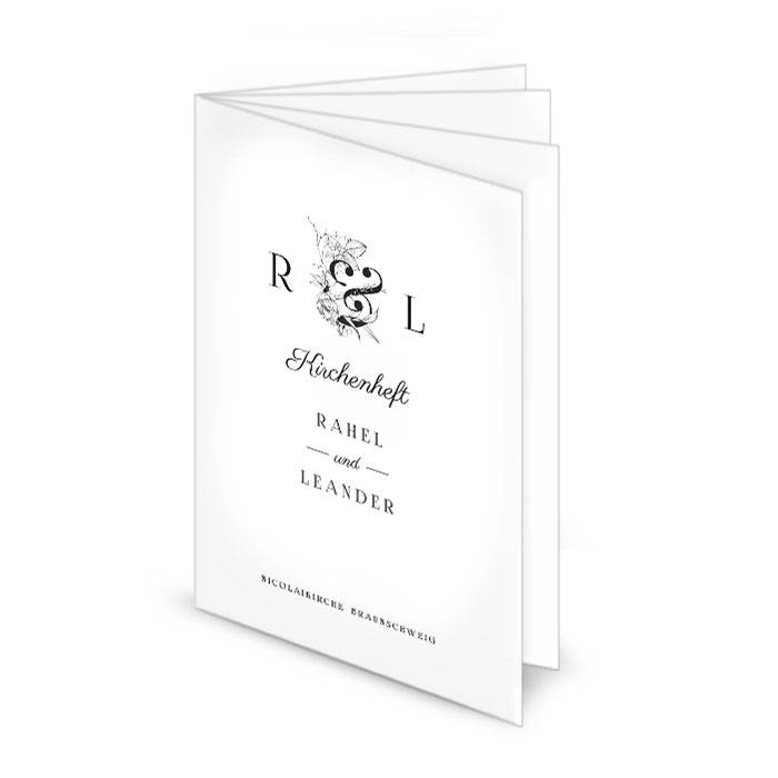 Kirchenheft zur Hochzeit mit floralem Monogramm in Schwarz-Weiß