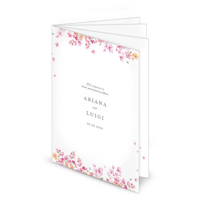 Kirchenheft zur Hochzeit mit rosafarbenen Blüten - 8 Seiten