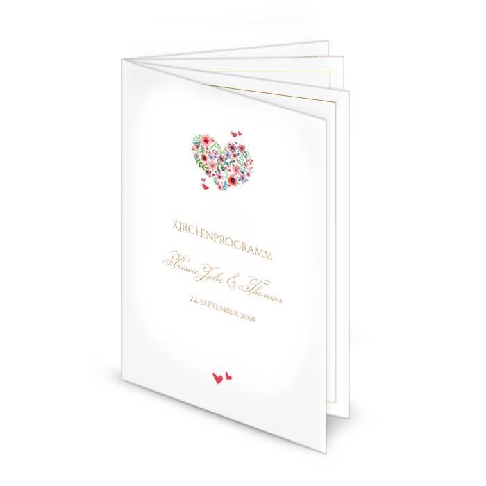 Kirchenheft zur Hochzeit mit 8 Seiten und blumigem Herz