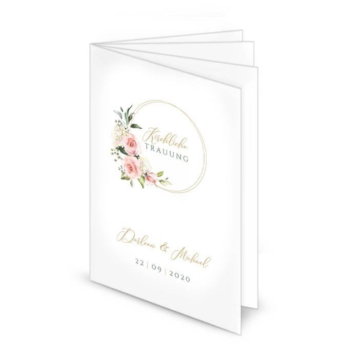 Kirchenheft zur Hochzeit mit Goldreif und Aquarell Blumen in Rosa