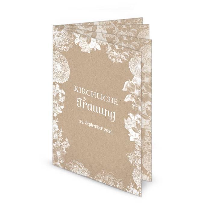Florales Kirchenheft im Kraftpapierstil mit 8 Seiten