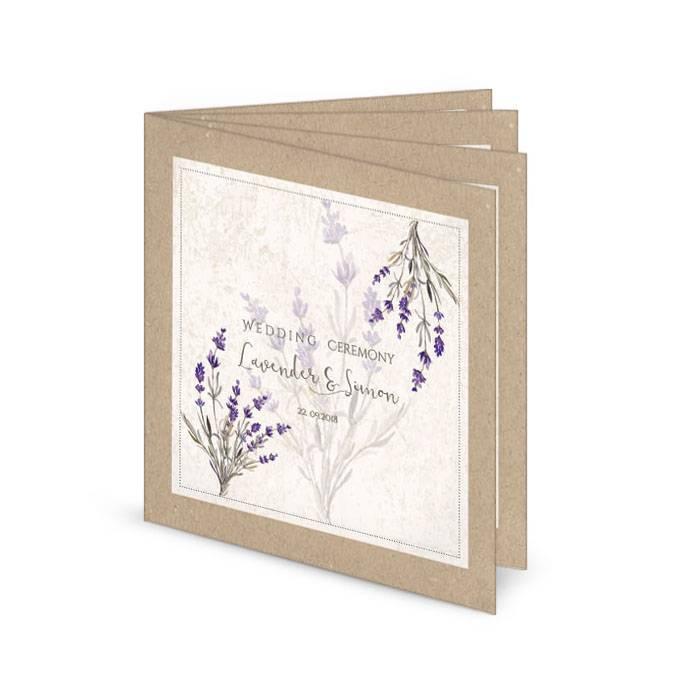 Kirchenheft zur Hochzeit in Kraftpapieroptik mit Lavendel
