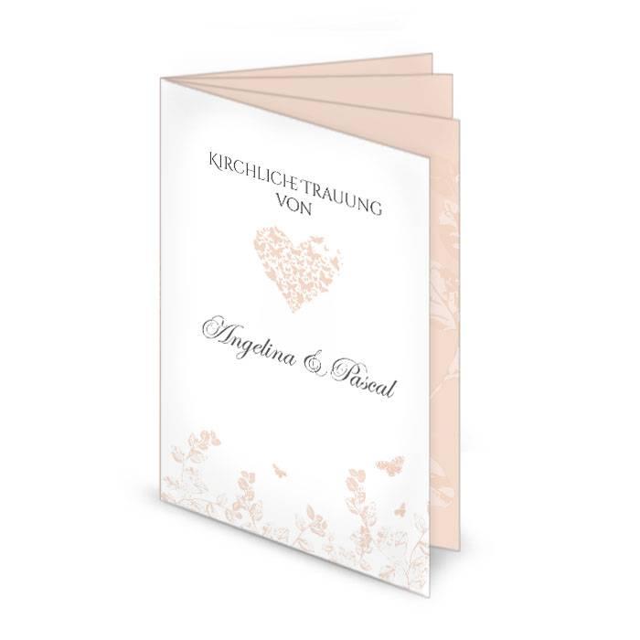 Kirchenheft zur Hochzeit mit Herz und Schmetterlingen