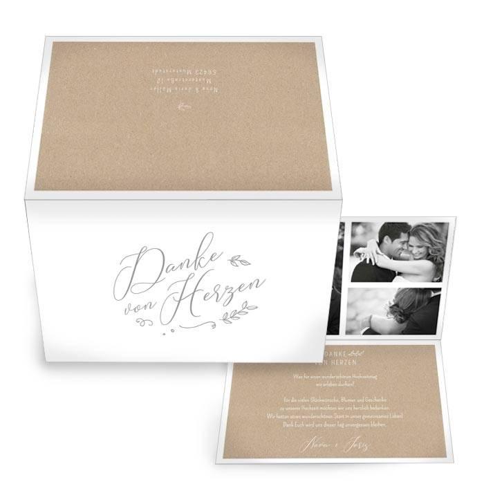 Klappkarte als Hochzeitsdanksagung in Kraftpapier Optik mit Kalligraphie