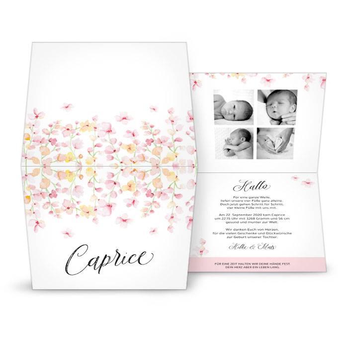 Klappkarte zur Geburt mit rosa Blumen in Watercolor-Optik