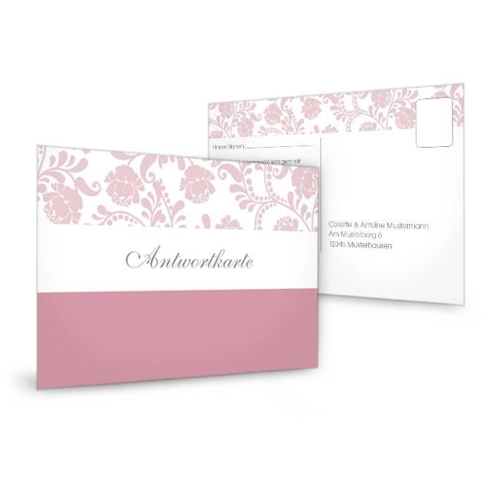 Antwortkarte zur Hochzeitseinladung im floralem Design in Rosa