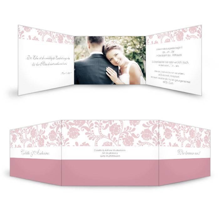 Klassische Hochzeitseinladung in Rosa mit floralem Design