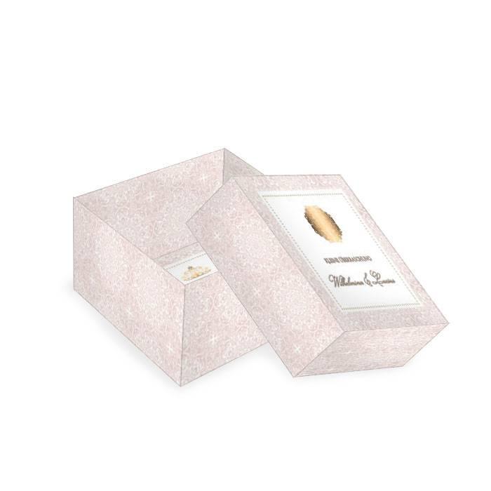 Kleine Geschenkbox zur Hochzeit in Rosé mit Goldornament