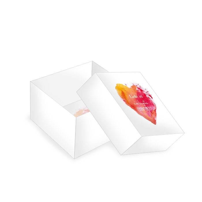 Kleine Geschenkbox zur Hochzeit mit Watercolor Herz in Rot