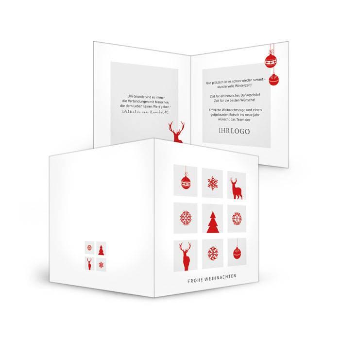 Kleine Weihnachtskarte mit roten Weihnachts-Elementen