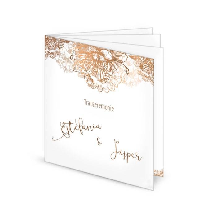 Kirchenheft zur Hochzeit in Weiß mit Blüten in Kupfer
