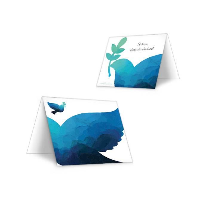 Platzkarten mit Taube in Blau zur Kommunion oder Konfirmation