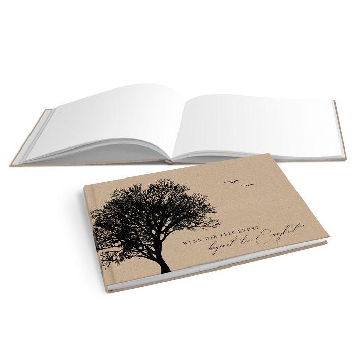 Hardcover Kondolenzbuch in Kraftpapieroptik mit Baumsilhouette