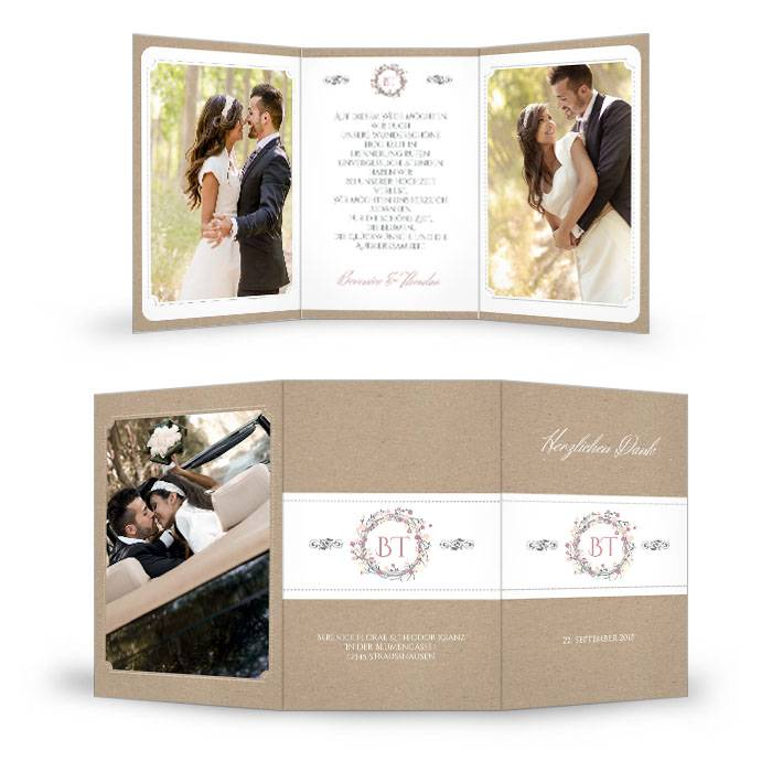 Hochzeitsdanksagung mit Blumenkranz im Kraftpapierstil