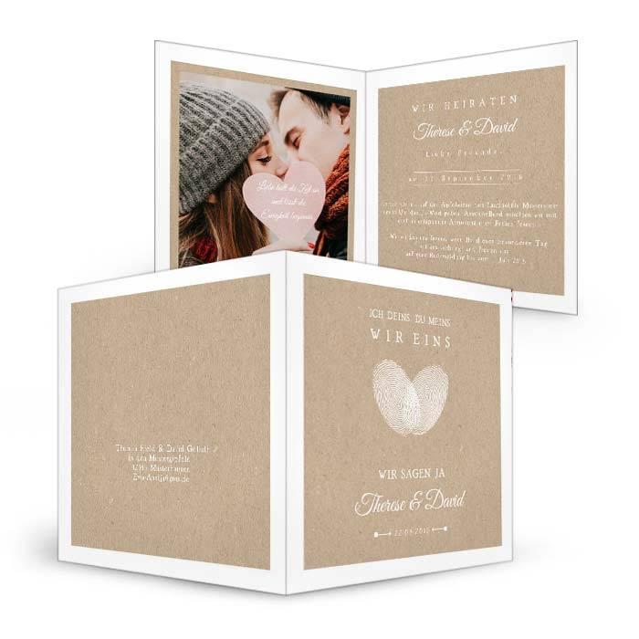 Hochzeitseinladung mit Herz Fingerabdruck als Klappkarte