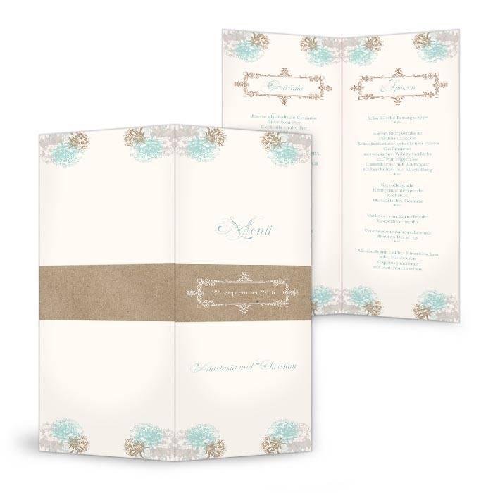 Moderne Menükarte zur Vintage Hochzeit mit Blüten in Minz